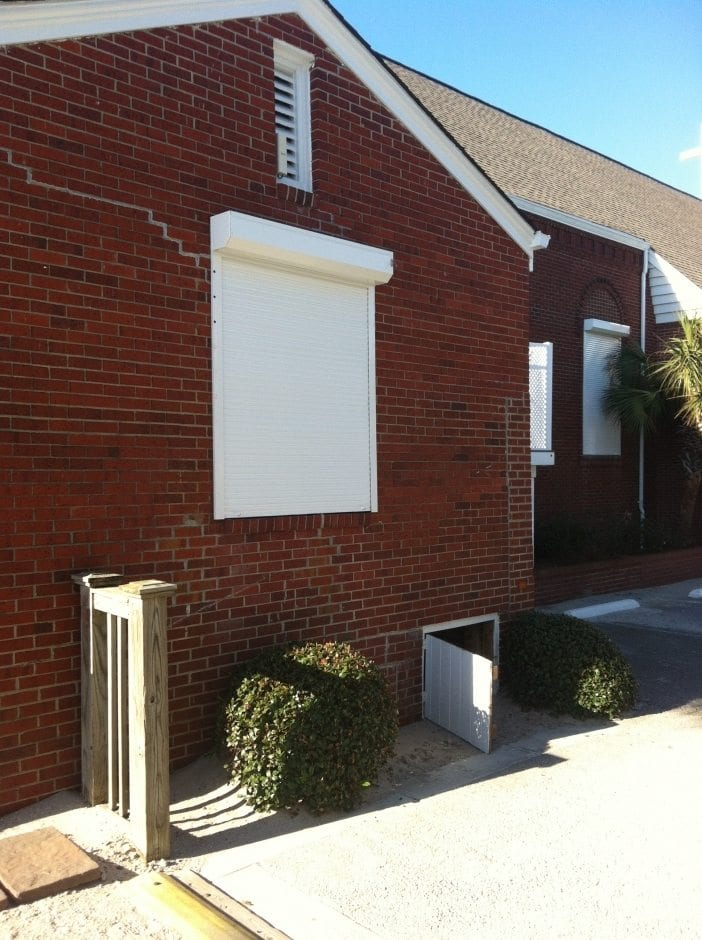Rolldown Shutters for Hurricane Protection on a Home in Wilmington